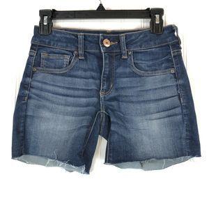 American Eagle stretch midi cutoff frayed shorts